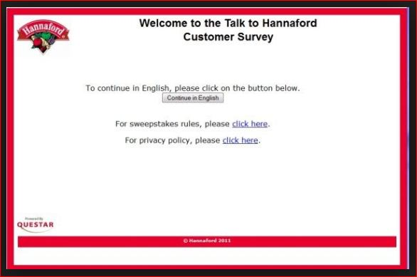 eNTER oNLINE Talk to Hannaford Customer Survey