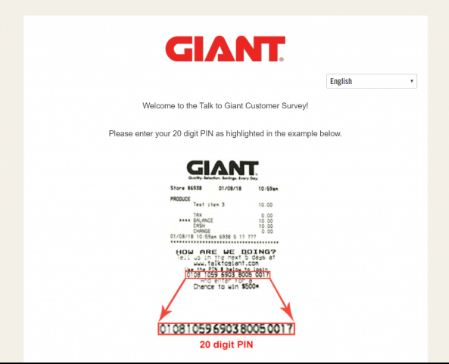 Enter Here Talk to Giant Customer Survey