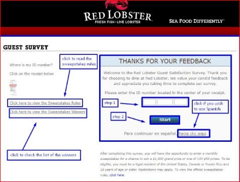 RedLobsterSurvey Sweepstakes to win $1,000 Gift Card