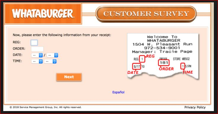 find whataburger customer survey
