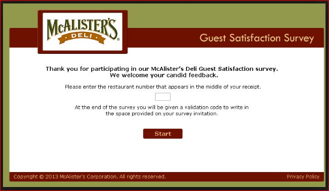 Enter Mcalister's Deli Satisfaction Survey