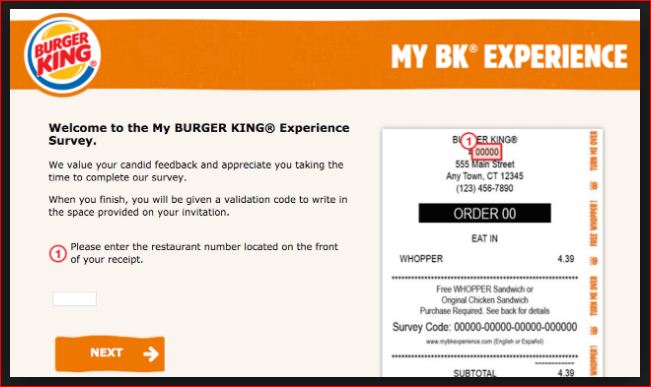 Enter Survey at My Burger King@