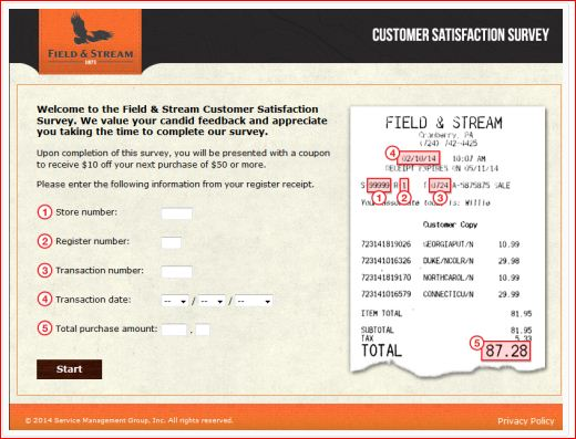 Welcome to Field & Stream Customer Satisfaction Survey