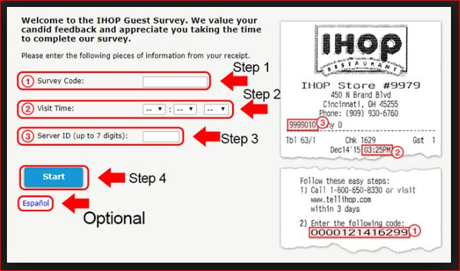 ihop survey receipt code@