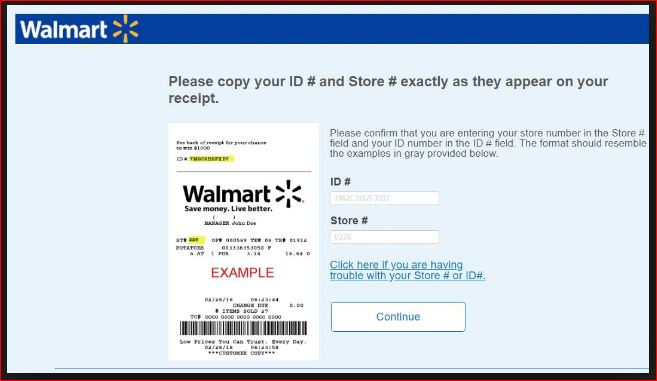 walmart survey Terms and Conditions