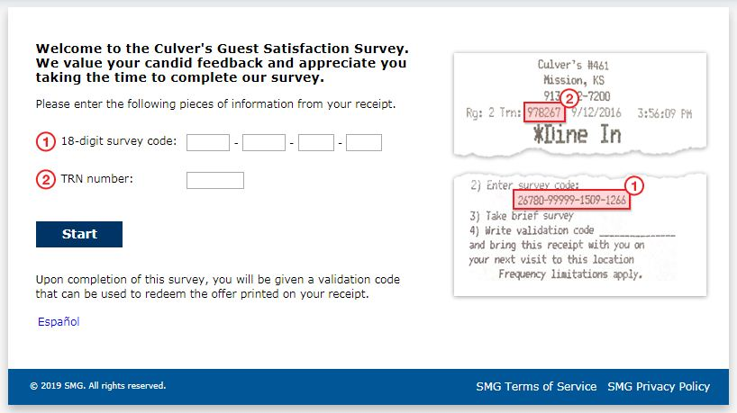 Culver's Guest Satisfaction Survey.