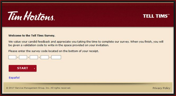 Enter Now Participate in the Tell Tims Survey
